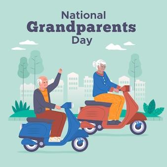 Couple de personnes âgées à l'occasion de la journée nationale des grands-parents de scooters