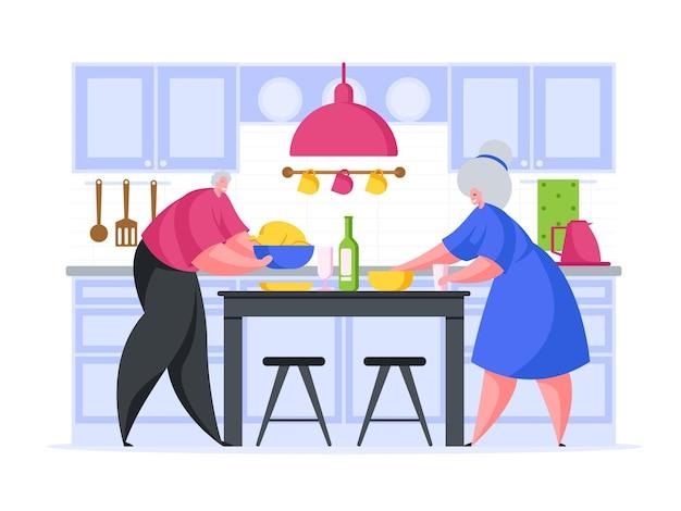 Couple de personnes âgées préparant une illustration de dessin animé de dîner romantique