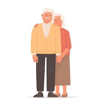 Couple de personnes âgées se tenant la main, la grand-mère et le grand-père se tiennent ensemble sur un fond blanc