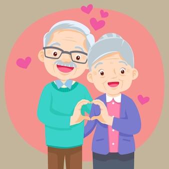 Couple de personnes âgées se tenant la main