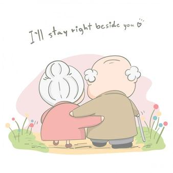 Couple de personnes âgées vivant ensemble et amour pour toujours