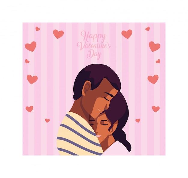 Couple de personnes amoureuses, label happy valentines day