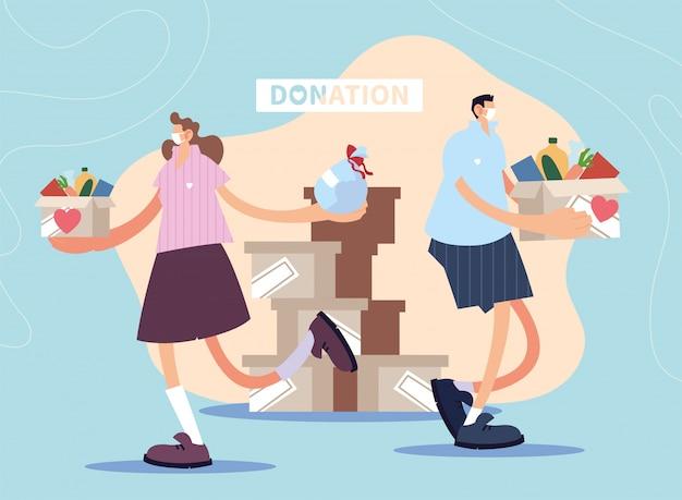 Couple de personnes fait un don de charité
