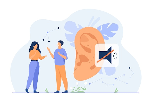 Couple de personnes sourdes parlant avec des gestes de la main, une oreille énorme et un signe muet en arrière-plan. illustration vectorielle pour la perte auditive, la communication, le concept de langue des signes