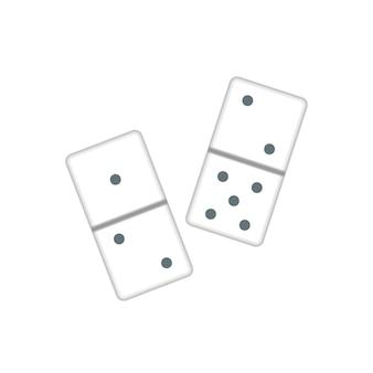 Couple de pièces de dominos blancs réalistes isolés sur blanc