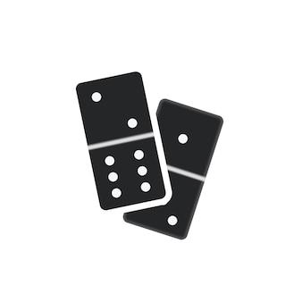 Couple de pièces de dominos noirs réalistes isolés sur blanc