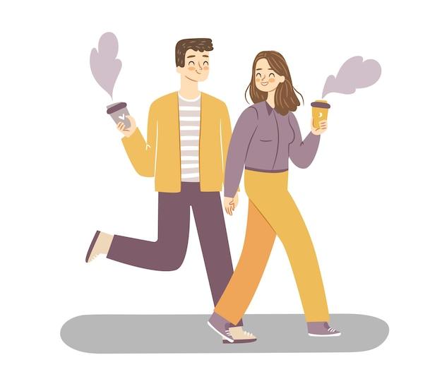 Couple à pied avec du café illustration vectorielle de gens heureux isolés
