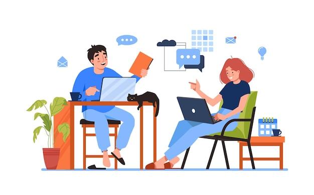 Couple pigistes travaillant ensemble à la maison ou au bureau isolé des travailleurs de dessin animé vecteur de personnes avec