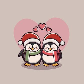 Couple de pingouin d'amour de la saint-valentin