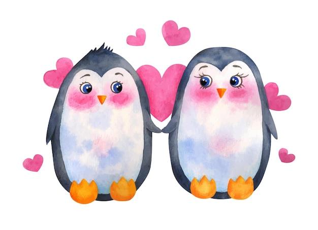 Couple de pingouin mignon aquarelle saint valentin