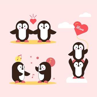 Couple de pingouin de la saint-valentin tombant amoureux