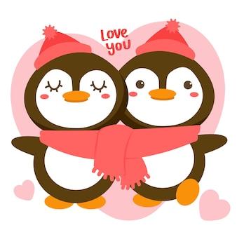 Couple de pingouins romantiques célébrant la saint valentin