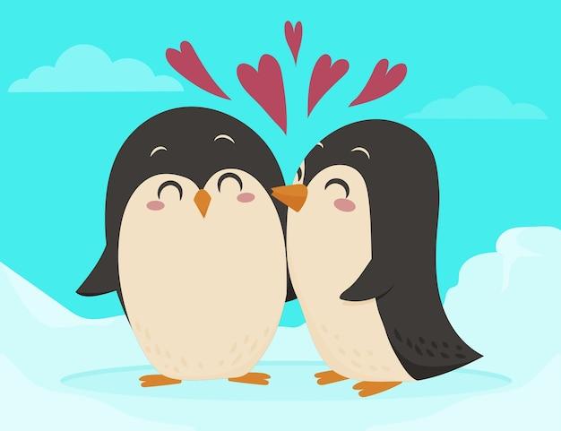 Couple de pingouins de la saint-valentin design plat