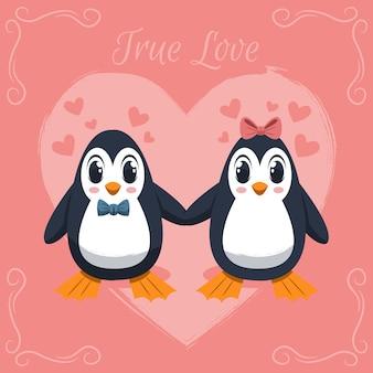 Couple de pingouins de la saint-valentin dessinés à la main