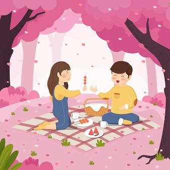 Couple pique-nique fleurs de cerisier fond