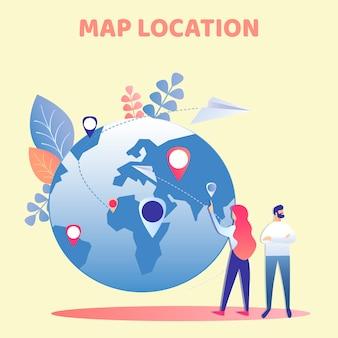 Couple, planification, vacances, plat, illustration vectorielle