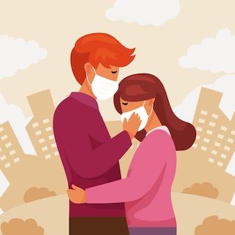 Couple plat s'embrassant avec illustration de masque covid