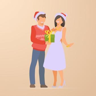 Couple, plat, vacances, noël, illustration