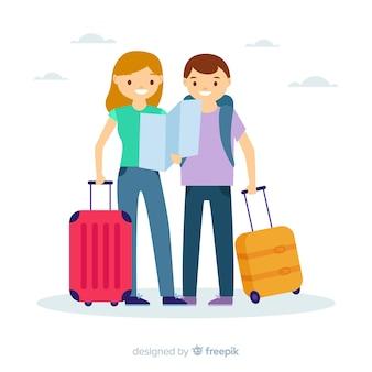 Couple plat voyageant ensemble de fond