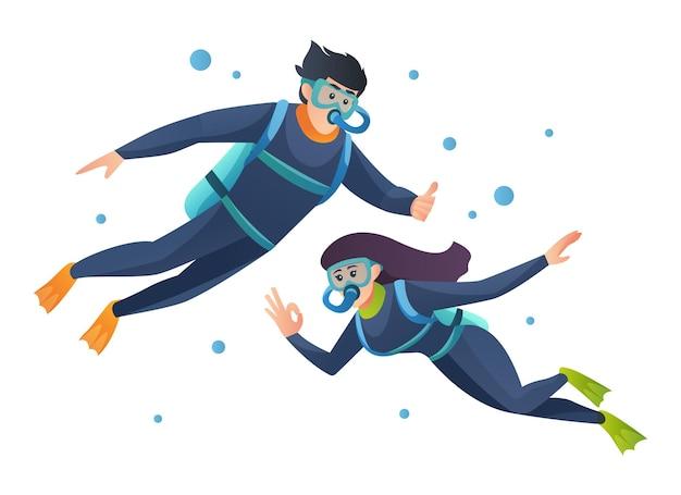 Couple plongée ensemble illustration