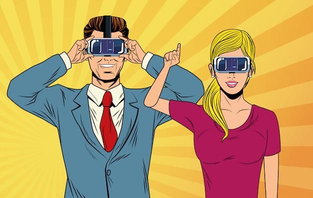 Couple pop art utilisant des lunettes de réalité virtuelle