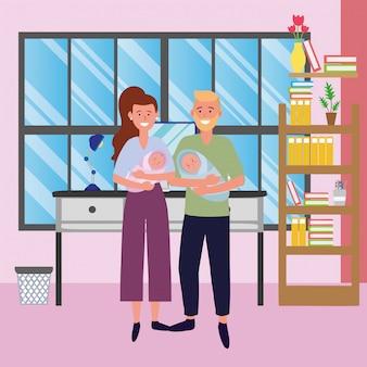 Couple portant des bébés