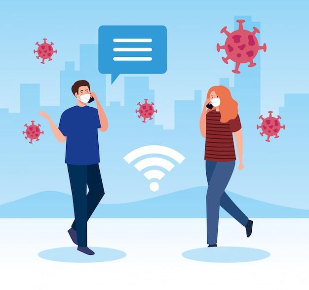 Couple portant un masque médical avec les smartphones, concept de coronavirus des médias sociaux