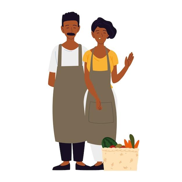 Couple portant un tablier avec panier rempli de fruits et légumes illustration
