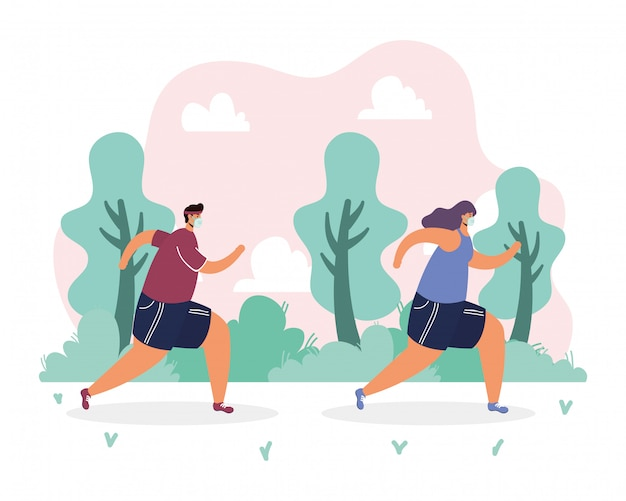 Couple, porter, masque médical, courant, sport, dans parc