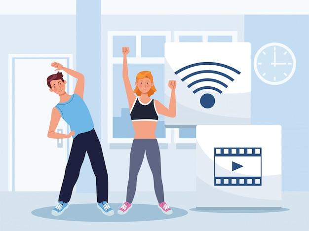 Couple pratiquant l'exercice en ligne pour la quarantaine