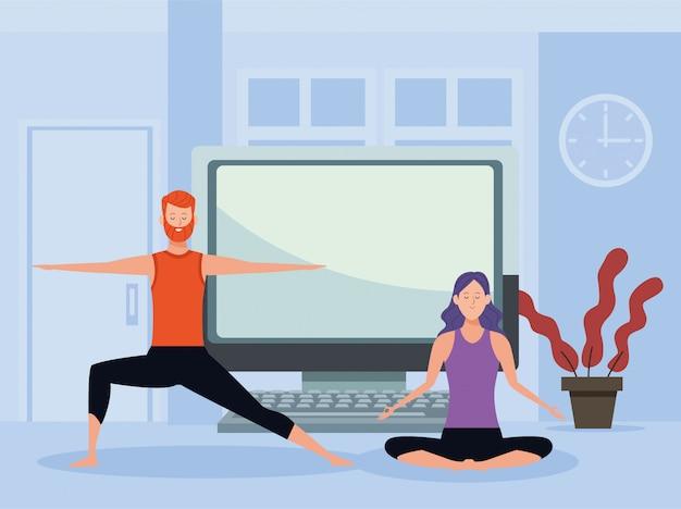 Couple pratiquant l'exercice et le yoga en ligne pour la quarantaine