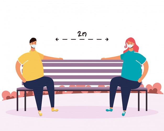 Couple, pratiquer, social, distance, parc, chaise