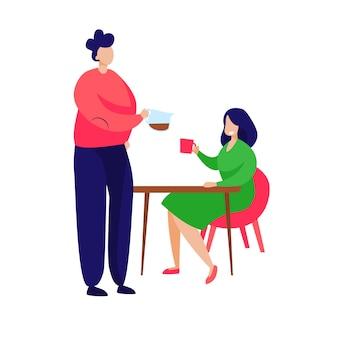 Couple prenant son petit déjeuner à la maison