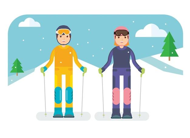 Couple prêt pour le ski