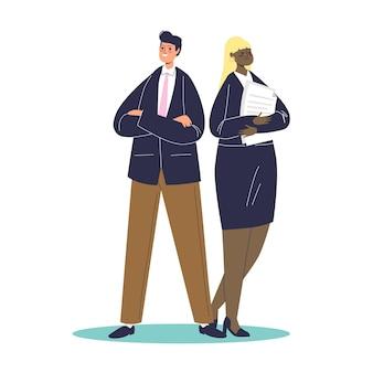 Couple de professionnels en costumes élégants