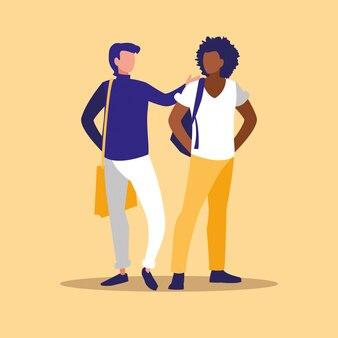 Couple de professionnels masculins modèles de personnages interraciaux