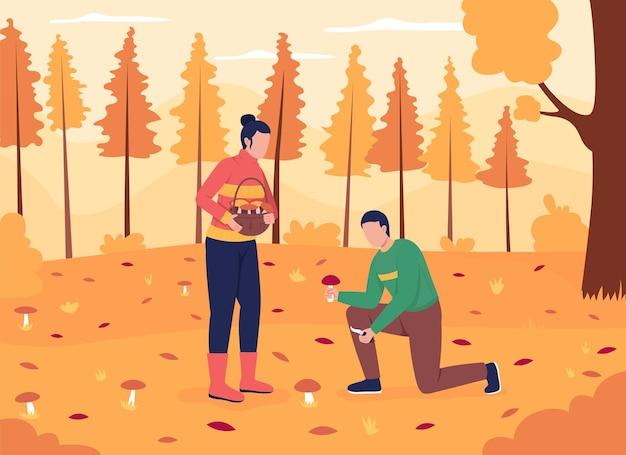 Couple en quête de champignons illustration vectorielle de couleur plate.