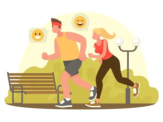 Couple qui court dans le parc. le concept d'un mode de vie actif et sain