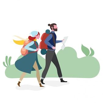 Couple, randonnée, ensemble