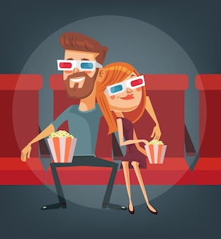 Couple regardant un film. personnages homme et femme.