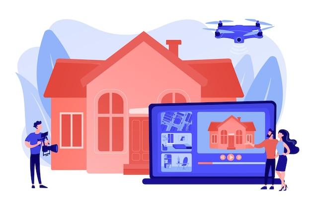 Couple regardant la visite de la maison. vidéo professionnelle de propriété aérienne. visite vidéo immobilière, marketing immobilier, concept vidéo de drone immobilier. illustration isolée de bleu corail rose