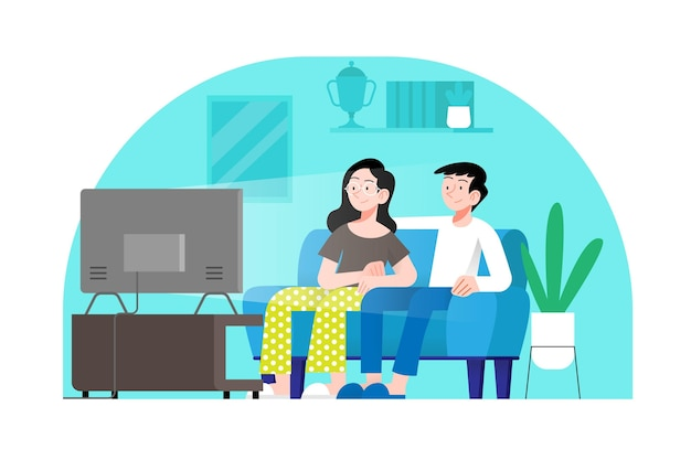 Couple, regarder film, dans, salle de séjour