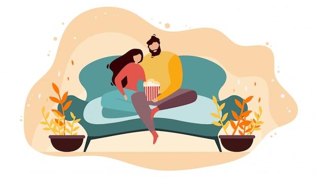Couple, regarder film, à, plat, vecteur plat, concept
