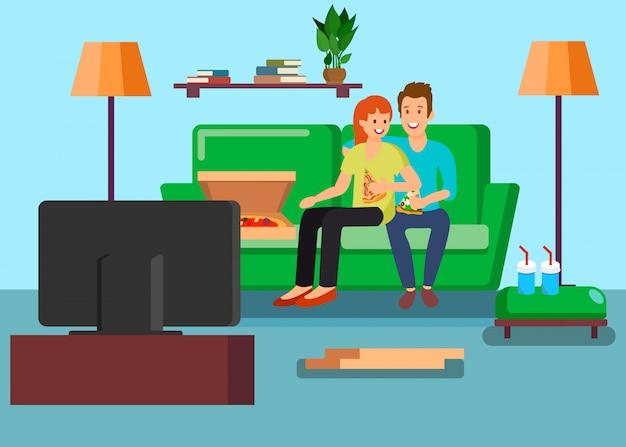 Couple, regarder télévision, à, maison, vecteur, illustration