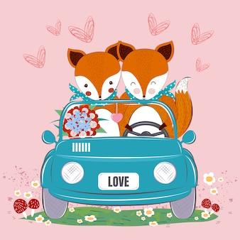 Couple de renards mignons dans une voiture avec bouquet de fleurs et coeur