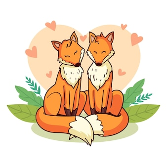 Couple de renards de la saint-valentin dessinés à la main