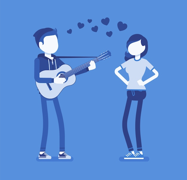 Couple de rencontres serenade. jeune homme amoureux chantant une chanson romantique et jouant de la guitare pour une femme bien-aimée, divertit une jolie petite amie, une belle expression d'amour. illustration avec des personnages sans visage