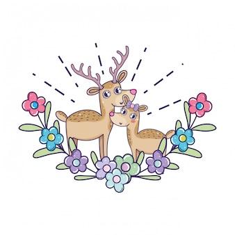 Couple de rennes mignon avec décoration florale