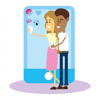 Couple sur les réseaux sociaux