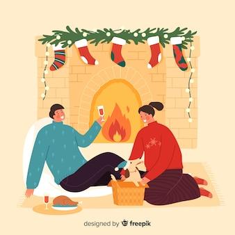 Couple, rester ensemble, à côté de, les, cheminée